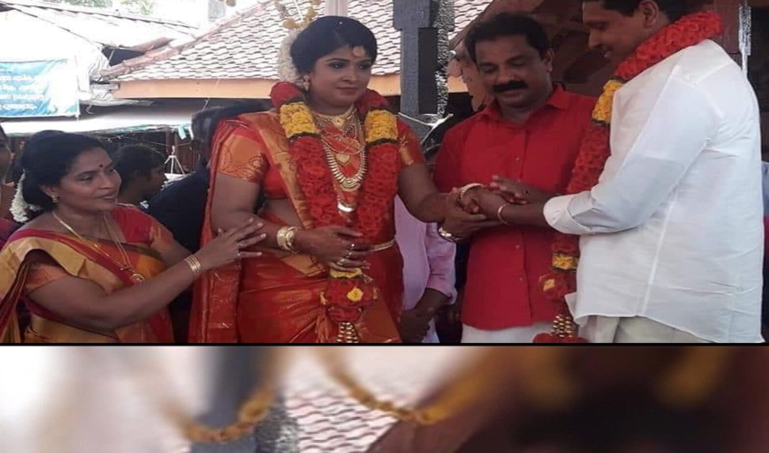 A young man who had been gathered with her daughter found her hand and handed him over. This is not the place of the mother .. big salute for Shaji and his wife.